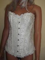 Ivory Boned Bridal Corset in Brocade & Satin